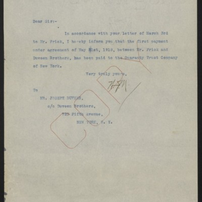Letter from W.J. Naughton to Joseph Duveen, 30 April 1919