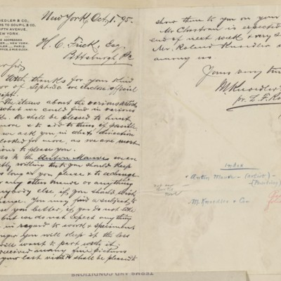 Letter from M. Knoedler & Co. to Henry Clay Frick, 1 October 1895