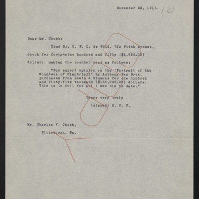 Letter from [Henry Clay Frick] to Charles F. Chubb, 23 November 1916
