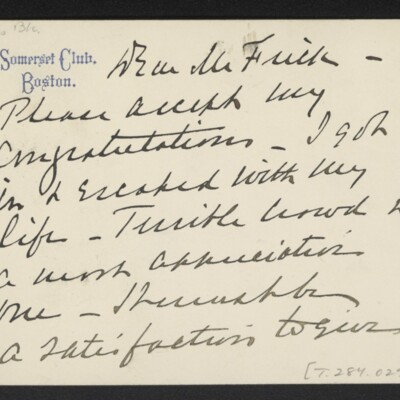 Letter from Herbert C. Leeds to [H.C.] Frick, 1 December 1910 [page 1 of 2]