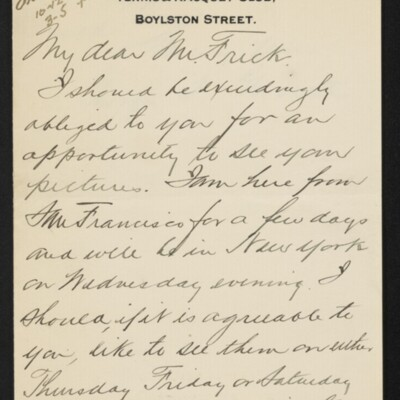 Letter from George S. Garritt to [H.C.] Frick, 22 February 1918 [page 1 of 3]