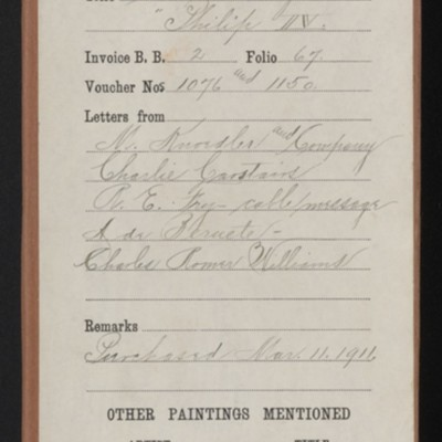 "Red envelope for purchase of Velasquez's ""Portrait of Philip IV,"" [1911]"
