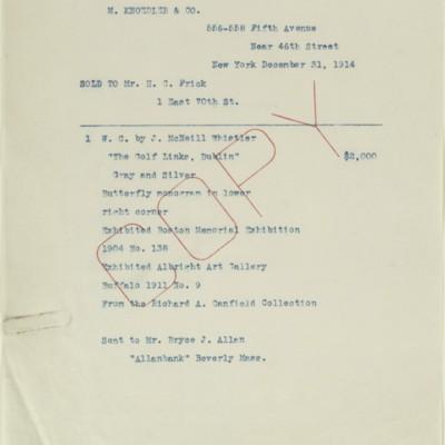 Typescript of an M. Knoedler & Co. Invoice, 31 December 1914