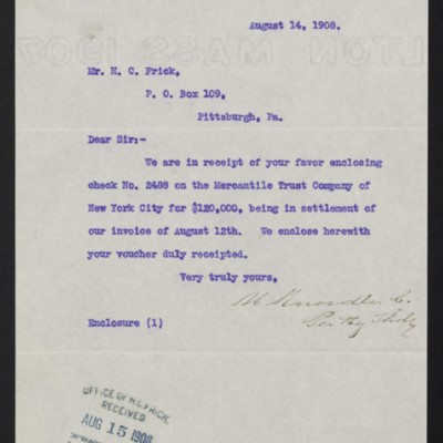 Letter from M. Knoedler & Co. to Henry Clay Frick, 14 August 1908