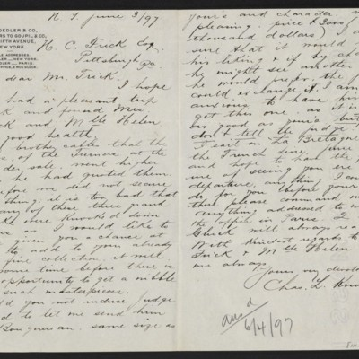 Letter from Charles L. Knoedler to Henry Clay Frick, 3 June 1897