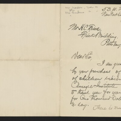 Letter from Henry M. Walcott to H.C. Frick 18 January 1905 [page 1 of 2]