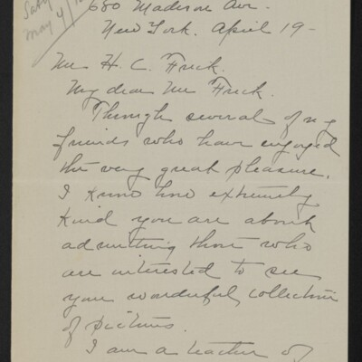 Letter from Clara Crawford Perkins to H.C. Frick, 19 April 1918 [page 1 of 3]