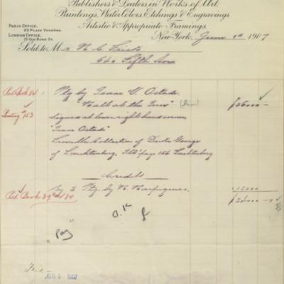 M. Knoedler & Co. Invoice, 1 June 1907