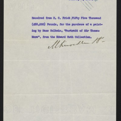 Receipt from M. Knoedler & Co. to Henry Clay Frick, 8 January 1912