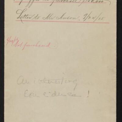Envelope for correspondece re the Duke of Devonshire's Memling, 1915