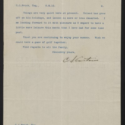Letter from C.S. Carstairs to [Henry Clay] Frick, 2 August 1912 [page 2 of 2]