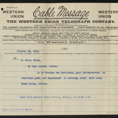 Cable from [H.C. Frick] to H. Silva White, 18 October 1912 [front]