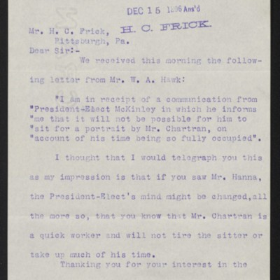 Letter from Roland F. Knoedler to Henry Clay Frick, 12 December 1896