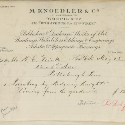 M. Knoedler & Co. Invoice, 28 May 1894