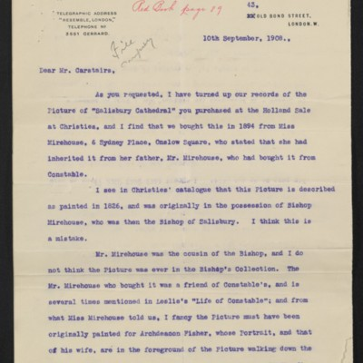Letter from Lockett Agnew to Charles S. Carstairs, 10 September 1908 [page 1 of 2]