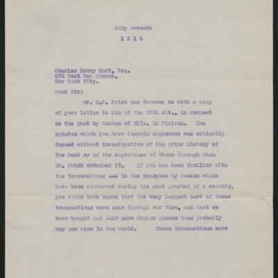 Copy of a letter from [Duveen Brothers] to Charles Henry Hart, 7 July 1916 [page 1 of 5]