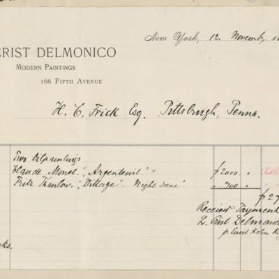 L. Crist Delmonico Invoice, 12 November 1895