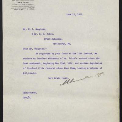 Letter from M. Knoedler & Co. to W.J. Naughton, 13 June 1918