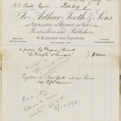 Arthur Tooth & Sons Invoice, 29 July 1898