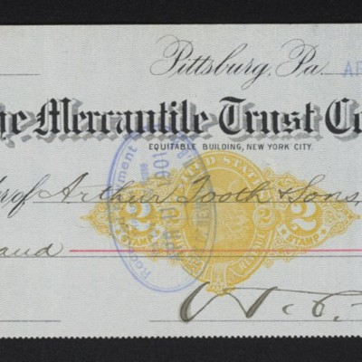 Check from Henry Clay Frick to Arthur Tooth & Sons, 9 April 1901 [front]