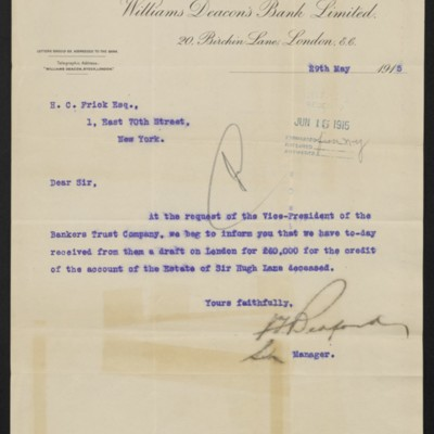 Letter from Williams Deacon's Bank Limited to H.C. Frick, 29 May 1915