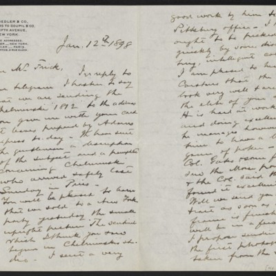 Letter from Roland F. Knoedler to Henry Clay Frick, 12 January 1898