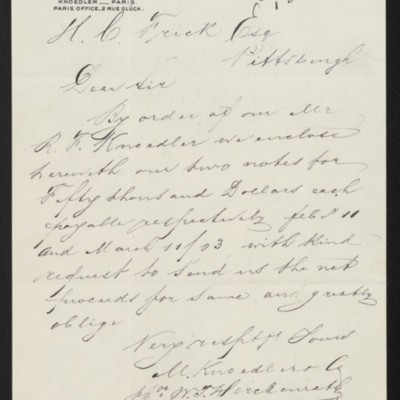 Letter from M. Knoedler & Co. to Henry Clay Frick, 10 October 1902