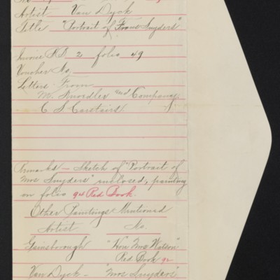 """Draft of red envelope for purchase of Van Dyck's """"Portrait of Frans Snyders,"""" [1909]"""