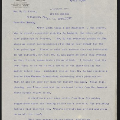 Letter from Roland F. Knoedler to Henry Clay Frick, 22 April 1898