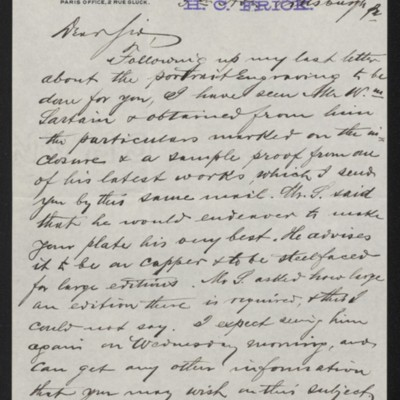 Letter from M. Knoedler & Co. to Henry Clay Frick, 25 September 1896