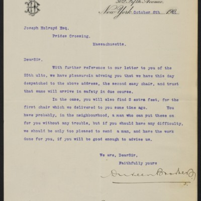 Letter from Duveen Brothers to Joseph Holroyd, 6 October 1911
