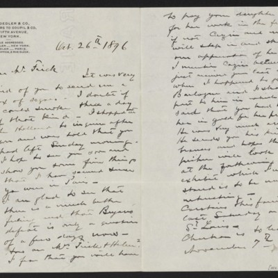 Letter from Roland F. Knoedler to Henry Clay Frick, 26 October 1896