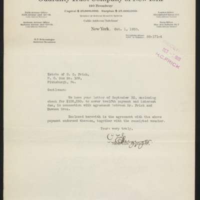 Letter from G.T. Scherzinger to Estate of Henry Clay Frick, 1 October 1920