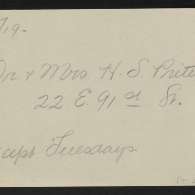 Note re visit from Dr. & Mrs. H.S. Pritchett, 5 February 1919