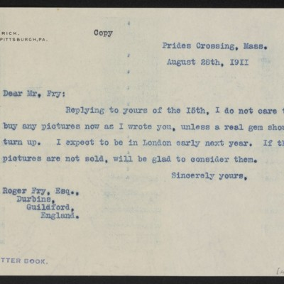 Letter from Henry Clay Frick to Roger E. Fry, 28 August 1911
