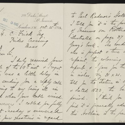 Letter from H. Silva White to H.C. Frick, 25 October 1912 [page 1 of 2]