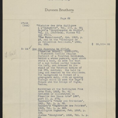 Invoice from Duveen Brothers to H.C. Frick, 20 February 1919 [page 2 of 7]