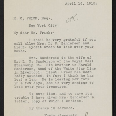 Letter from Norrie Sellar to H.C. Frick, 16 April 1918
