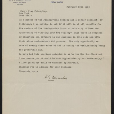 Letter from H.G .Mendenhall to Henry Clay Frick, 20 February 1918