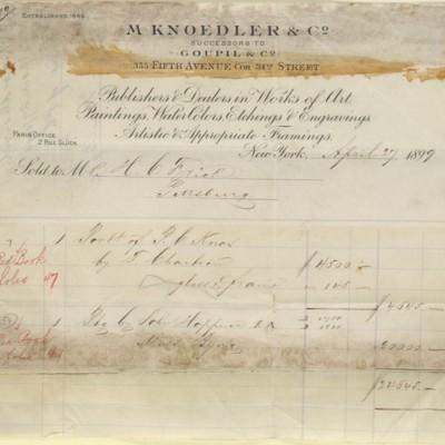 M. Knoedler & Co. Invoice, 27 April 1899