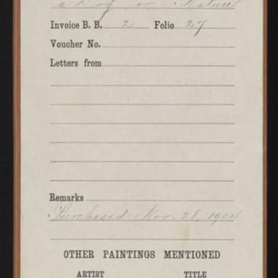 "Red envelope for purchase of Romney's ""Lady Hamilton,"" 28 November 1904"