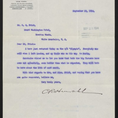 Letter from C.R. Henschel of M. Knoedler & Co. to H.C. Frick, 23 September 1914 [front]
