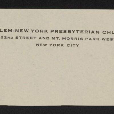 Fragment of stationery of George Wells Arms, Harlem-New York Presbyterian Church, New York, N.Y., circa March 1918