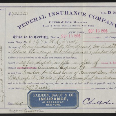 Certificate of insurance issued by Farjeon, Bagot & Co., 13 September 1905
