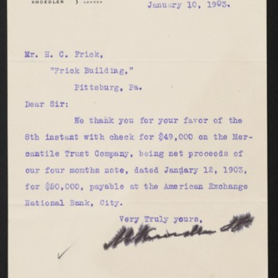 Letter from M. Knoedler & Co. to Henry Clay Frick, 10 January 1903