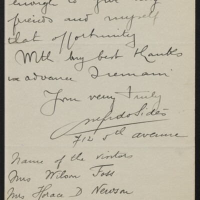 Letter from M. Alfredo Sides to Henry C. Frick, 4 March 1918 [page 2 of 2]