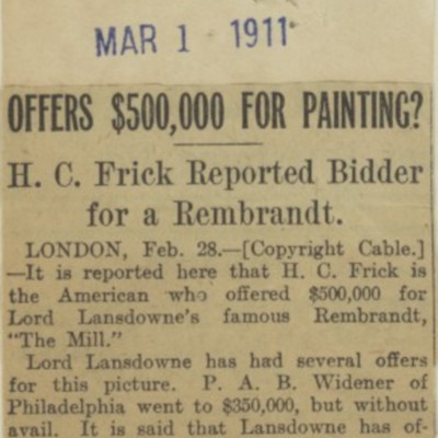 "Clipping, ""Offers $500,000 for Painting?"" from ""Pittsburgh Dispatch,"" 1 March 1911"