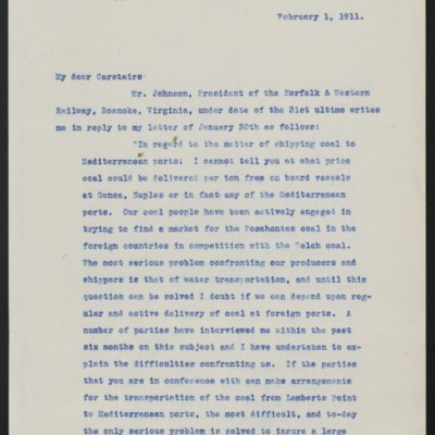 Letter from Henry Clay Frick to Charles S. Carstairs, 1 February 1911