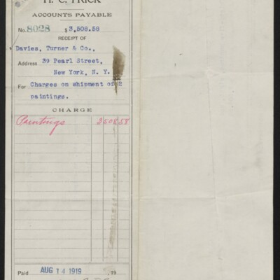 Voucher for charges on shipment of two paintings, 14 August 1919 [front]