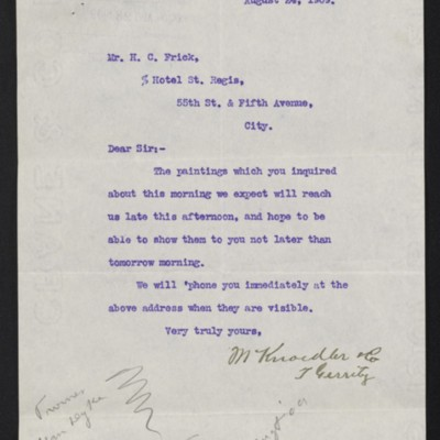 Letter from M. Knoedler & Co. to Henry Clay Frick, 24 August 1909 [front]